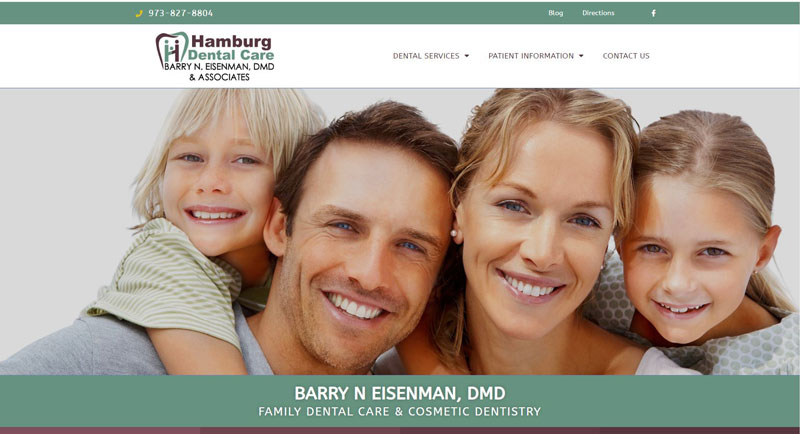 Hamburg Dental Care Website Home Page Screenshot